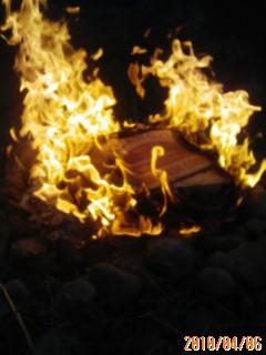 焚き火で草木灰作り